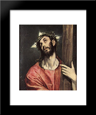 Christ Carrying The Cross: Modern Black Framed Art Print by El Greco
