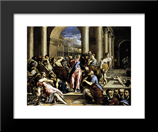 Christ Driving The Traders From The Temple: Modern Black Framed Art Print by El Greco