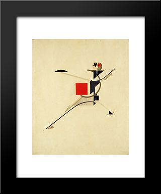 New Man: Modern Black Framed Art Print by El Lissitzky