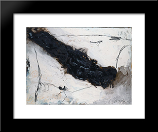 Fluss: Modern Black Framed Art Print by Emil Schumacher