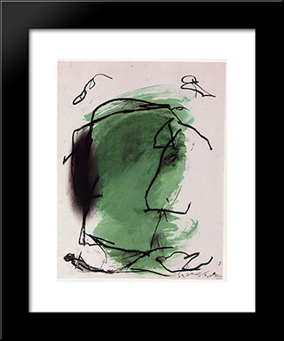G - 1: Modern Black Framed Art Print by Emil Schumacher