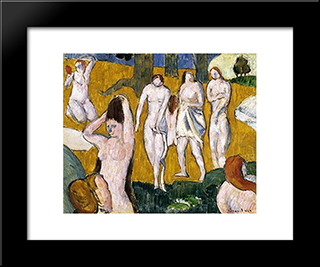 Bathers: Modern Black Framed Art Print by Emile Bernard