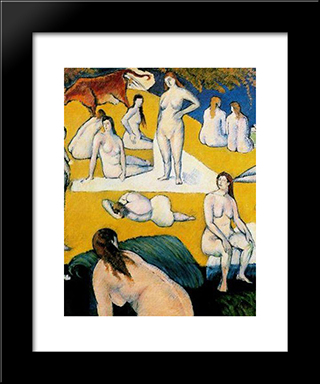 Bathers With Red Cow: Modern Black Framed Art Print by Emile Bernard