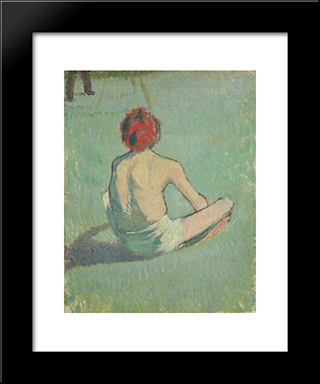 Boy In The Grass: Modern Black Framed Art Print by Emile Bernard