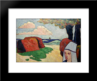 Breton Woman At Haystacks: Modern Black Framed Art Print by Emile Bernard