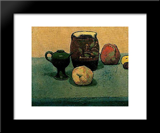 Earthware Pot And Apples: Modern Black Framed Art Print by Emile Bernard