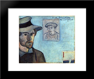 Self-Portrait With Portrait Of Gauguin: Modern Black Framed Art Print by Emile Bernard