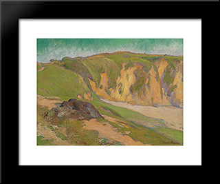 The Cliffs At Le Pouldu: Modern Black Framed Art Print by Emile Bernard