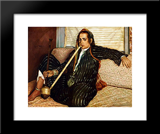 The Smoking Hashish: Modern Black Framed Art Print by Emile Bernard
