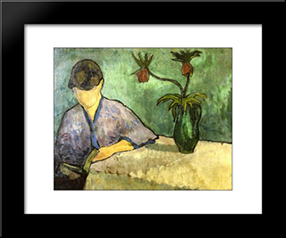 Young Woman In Kimono, Reading: Modern Black Framed Art Print by Emile Bernard