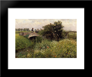 A Meeting On The Bridge: Modern Black Framed Art Print by Emile Claus