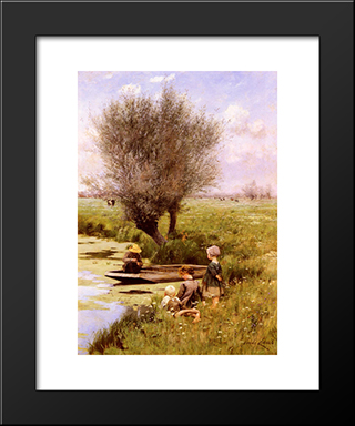 Afternoon Along The River: Modern Black Framed Art Print by Emile Claus
