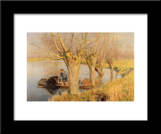 Bringing In The Nets: Modern Black Framed Art Print by Emile Claus