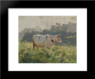 Cow: Modern Black Framed Art Print by Emile Claus