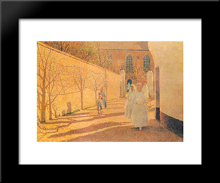 First Communion: Modern Black Framed Art Print by Emile Claus