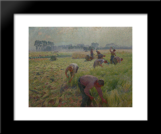 Flax Harvesting: Modern Black Framed Art Print by Emile Claus