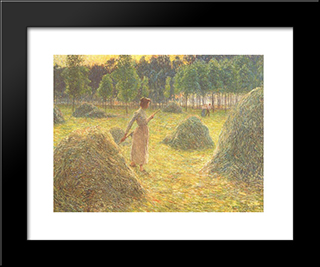 Hay Stacks: Modern Black Framed Art Print by Emile Claus