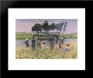 Le Pique-Nique: Modern Black Framed Art Print by Emile Claus
