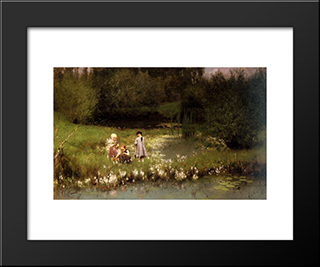Picking Blossoms: Modern Black Framed Art Print by Emile Claus