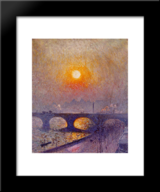 Sunset Over Waterloo Bridge: Modern Black Framed Art Print by Emile Claus