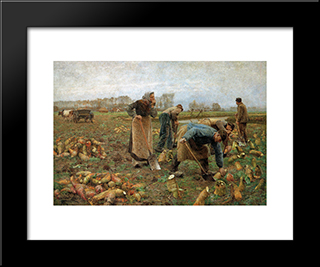The Beet Harvest: Modern Black Framed Art Print by Emile Claus