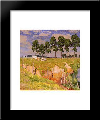 The Caving In Bank: Modern Black Framed Art Print by Emile Claus