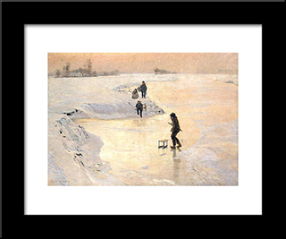 The Ice Birds: Modern Black Framed Art Print by Emile Claus