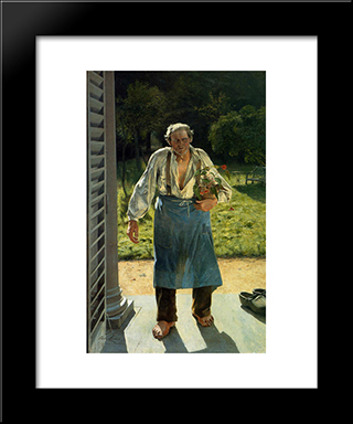 The Old Gardener: Modern Black Framed Art Print by Emile Claus