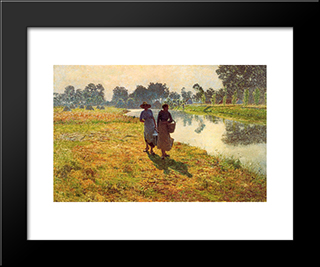 Young Peasant Women At The Leie: Modern Black Framed Art Print by Emile Claus
