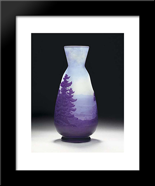 Cameo Glass Landscape Vase: Modern Black Framed Art Print by Emile Galle