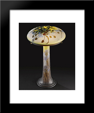 Dragonfly Table Lamp: Modern Black Framed Art Print by Emile Galle