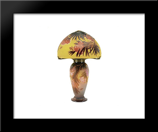 Hibiscus Lamp: Modern Black Framed Art Print by Emile Galle