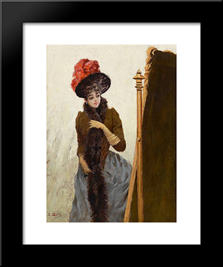 In Front Of The Swing Mirror: Modern Black Framed Art Print by Emile Galle