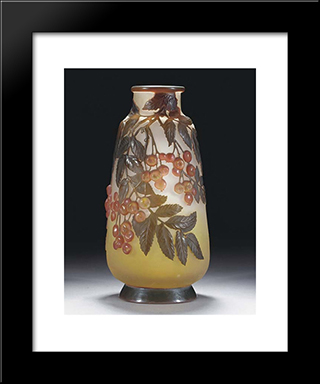 Mould-Blown Cameo Glass Vase: Modern Black Framed Art Print by Emile Galle