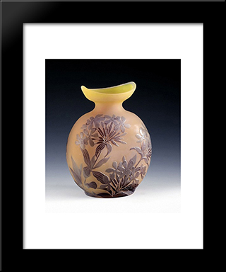 Ovale Vase Mit Phlox, Nancy, Frankreich: Modern Black Framed Art Print by Emile Galle