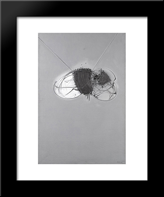 La Larva: Modern Black Framed Art Print by Emilio Scanavino