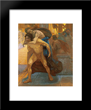 Aeneas Saving His Father Through The Flames Of Troy: Modern Black Framed Art Print by Emmanuel Zairis