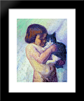 Child With Cat: Modern Black Framed Art Print by Emmanuel Zairis