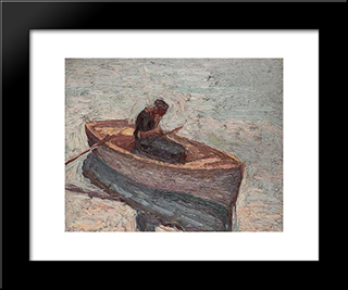 Figure In A Rowing Boat: Modern Black Framed Art Print by Emmanuel Zairis