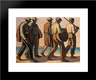 Fishermen: Modern Black Framed Art Print by Emmanuel Zairis
