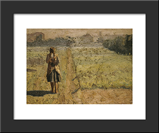 Girl In The Vegetable Garden: Modern Black Framed Art Print by Emmanuel Zairis