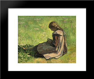 Girl Sitting In The Grass: Modern Black Framed Art Print by Emmanuel Zairis
