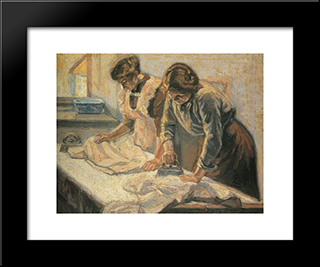 Women Ironing: Modern Black Framed Art Print by Emmanuel Zairis