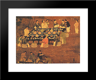 An Elegant Party (Detail): Modern Black Framed Art Print by Emperor Huizong