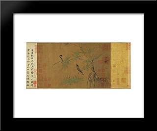 Finches And Bamboo: Modern Black Framed Art Print by Emperor Huizong
