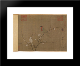 Five-Colored Parakeet On A Blossoming Apricot Tree: Modern Black Framed Art Print by Emperor Huizong