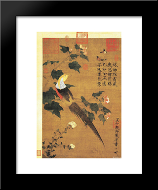 Golden Pheasant And Cotton Rose Flowers: Modern Black Framed Art Print by Emperor Huizong
