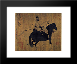 Groom Leading Two Horses: Modern Black Framed Art Print by Emperor Huizong