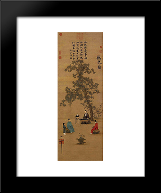 Listerning To The Qin: Modern Black Framed Art Print by Emperor Huizong