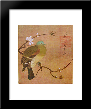 Pigeon On A Peach Branch: Custom Black Or Gold Ornate Gallery Style Framed Art Print by Emperor Huizong